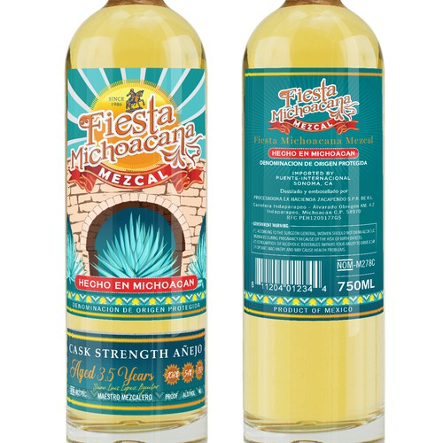 Distillery label with the title 'Label design for FIESTA MICHOACANA'