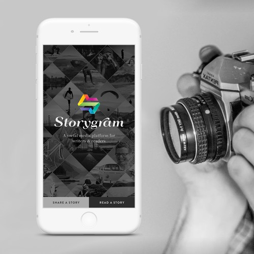 Share design with the title 'Storygram app'