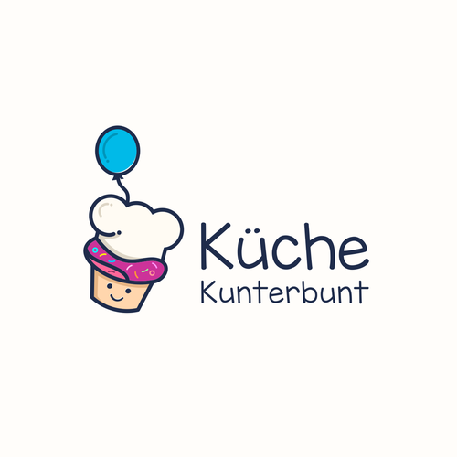 Birthday logo with the title 'Küche Kunterbunt'