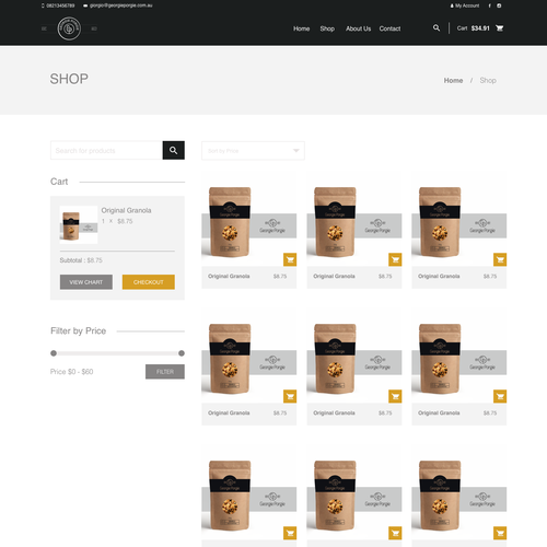Product design website with the title 'Product page e-commerce'