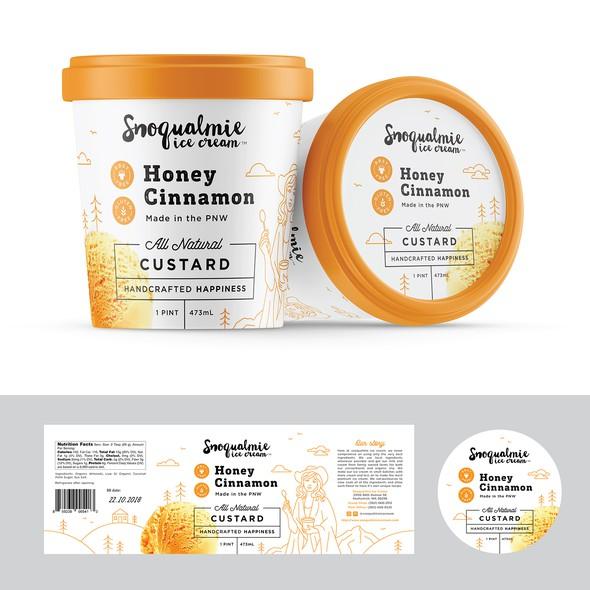 Northwest design with the title 'Premium Ice Cream Label'