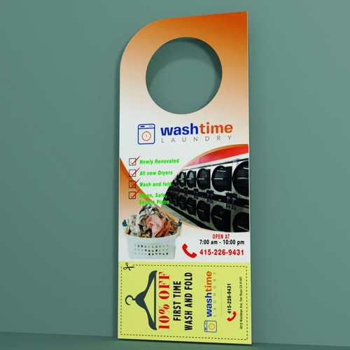 Door hanger design with the title 'CONCEPT DESIGN FOR A LAUNDRY SHOP'