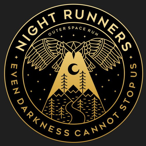 Mountain t-shirt with the title 'Night Runners concept for Outer Space Run'