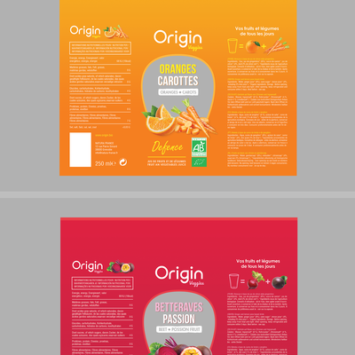 Oriign veggies juice label