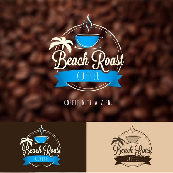 Slogan logo with the title 'Beach Roast Coffee'