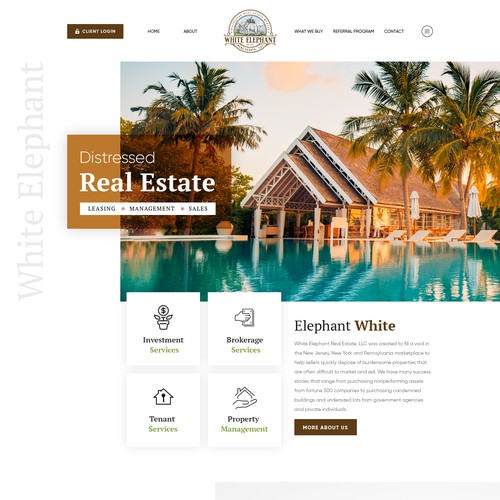 House website with the title 'White Elephant'