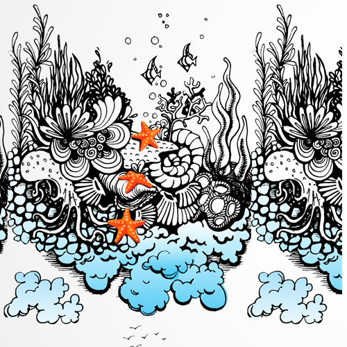 Sea illustration with the title 'Pattern design'