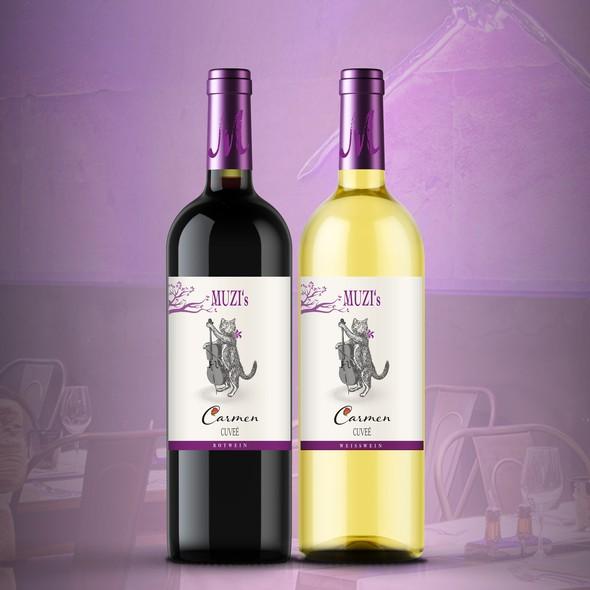 Red wine label with the title 'MUZI's restaurant wine label'