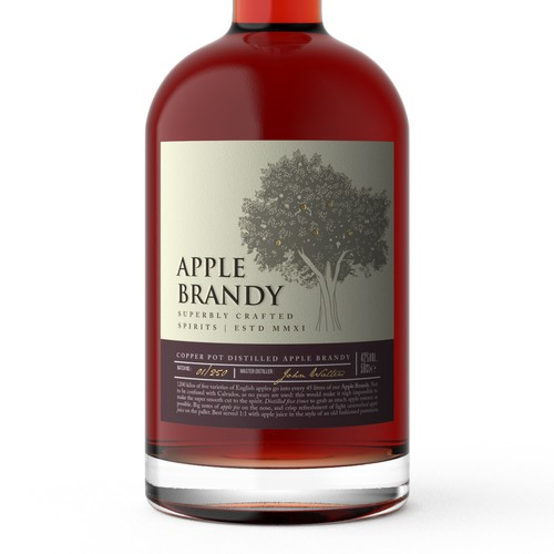Eye-catching label with the title 'The most premium apple brandy available in the UK'