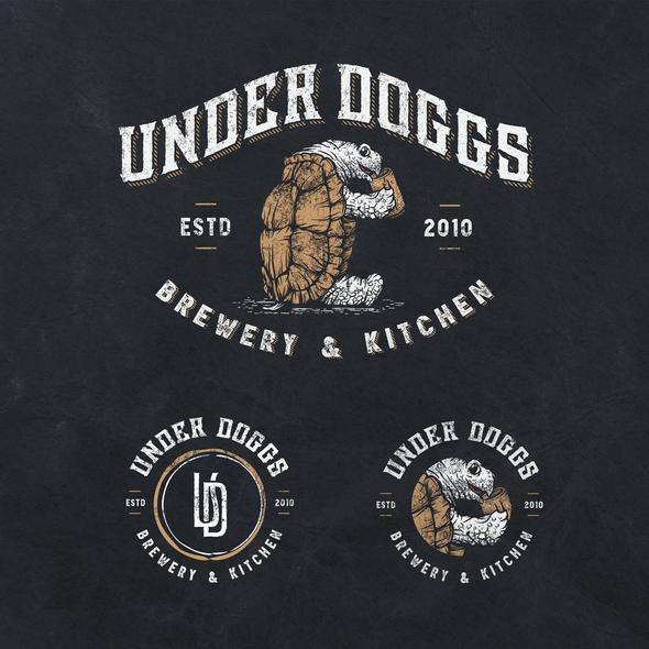 Tortoise logo with the title 'UNDERDOGGS Brewpub & Kitchen'
