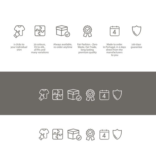 Luxury artwork with the title 'Icons showing core values of a new sustainable men's fashion brand'
