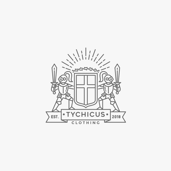 Heraldic design with the title 'Tychicus knight coat of arms logo'