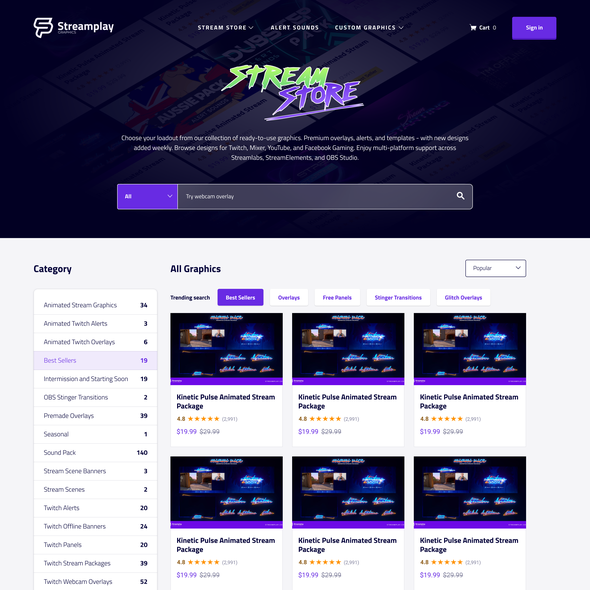 Game website with the title 'Twitch overlay ecommerce list page'