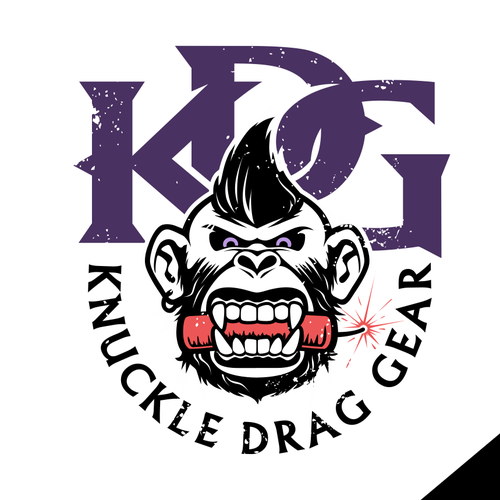 Gorilla logo with the title 'knuckle drag gear'