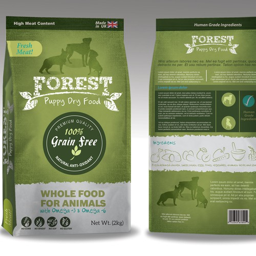Natural packaging with the title 'Premium Dog Food Packaging Design'