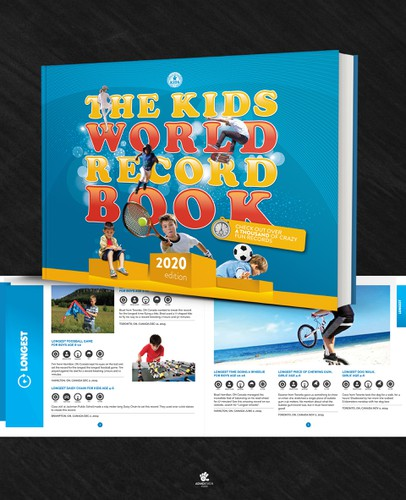 Funny book cover with the title 'The Kids World Record Book Design'