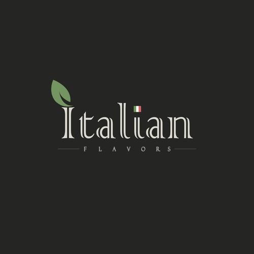 Italian cuisine logo with the title 'Italian Flavors'
