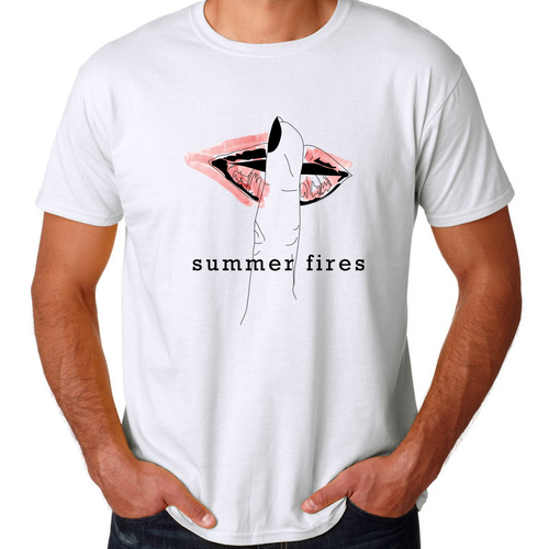 Watercolor t-shirt with the title 'T-shirt design for indie band'
