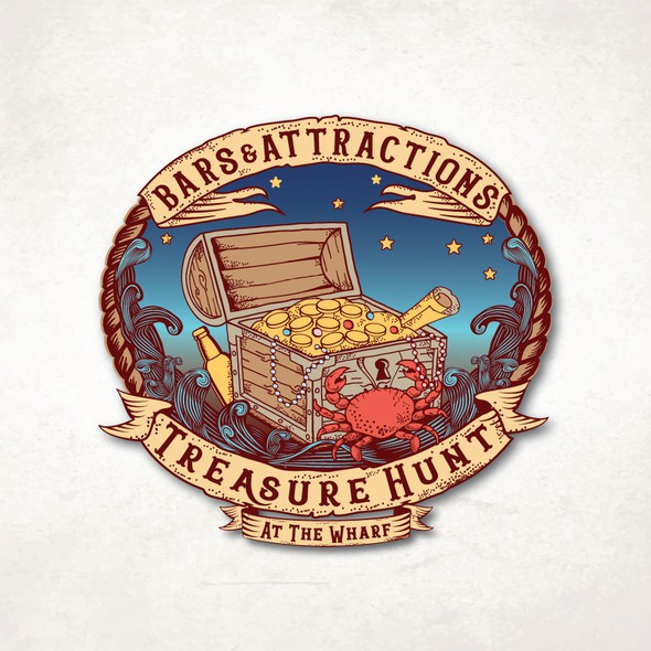 Crab logo with the title 'Bars & Attractions Treasure Hunt '