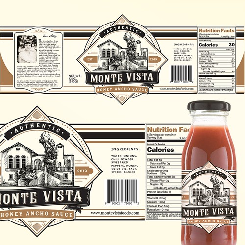 Sauce label with the title 'Honey Ancho Sauce'