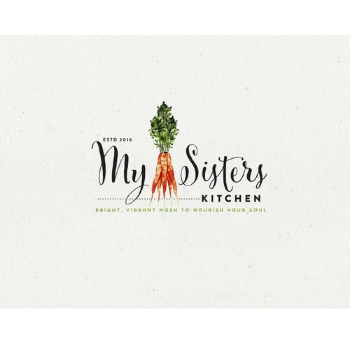 Greek food logo with the title 'Logo Design for My Sisters Kitchen'