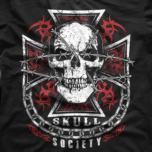 Biker design with the title 'Skull Society Biker Club T-Shirt'