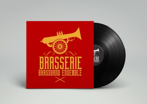 Yellow and red design with the title 'Brasserie Brassband Ensemble'
