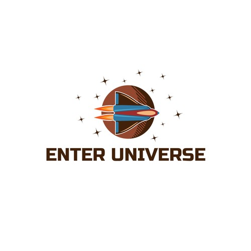 Solar system logo with the title 'Enter Universe Logo'