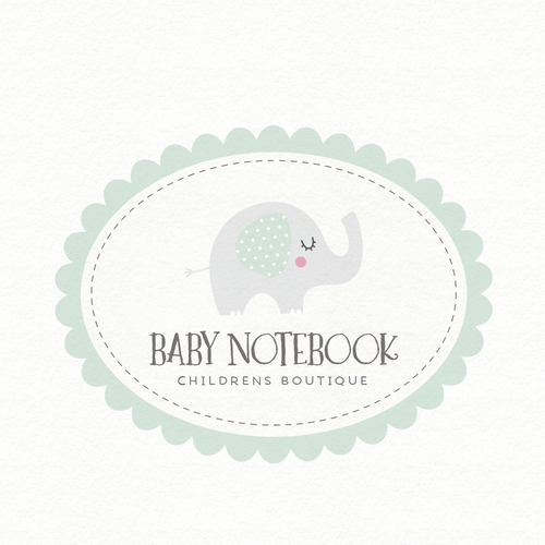 Baby boutique logo with the title 'Design a Baby Memory Book App Logo for Baby Notebook'