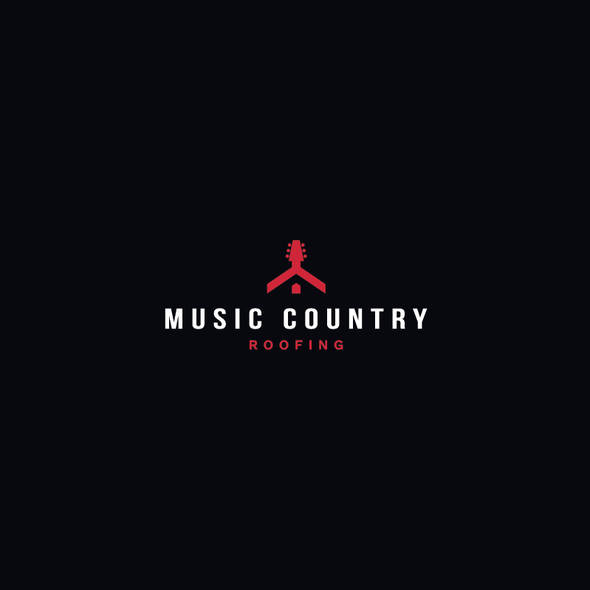 Roof design with the title 'Music Country Roofing Logo'