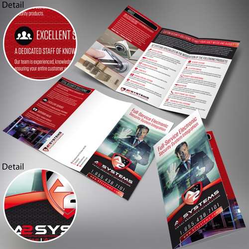 Protection design with the title 'Brochure design for A2 Systems'