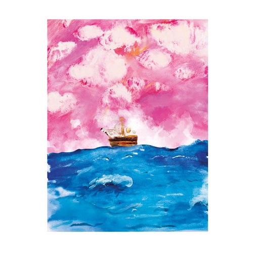 Water illustration with the title 'Ocean watercolor canvas'