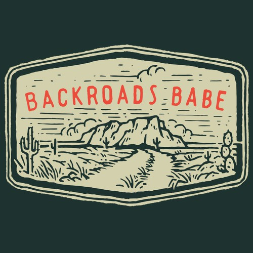 Road design with the title 'Simple T-Shirt Design BACKROADS BABE'