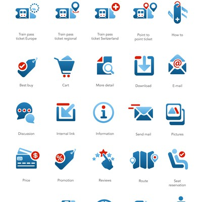 31 attractive icons for our Swiss travel website