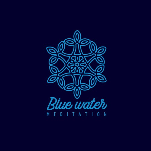Snowflake logo with the title 'Blue Water meditation'