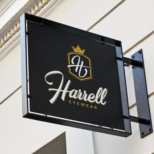 Eyewear design with the title 'Harrell Eyewear Logo'