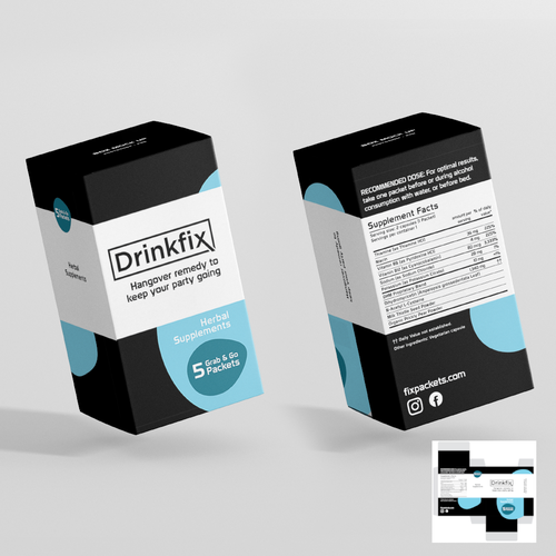 Chic packaging with the title 'Drinkfix Capsule Packaging'