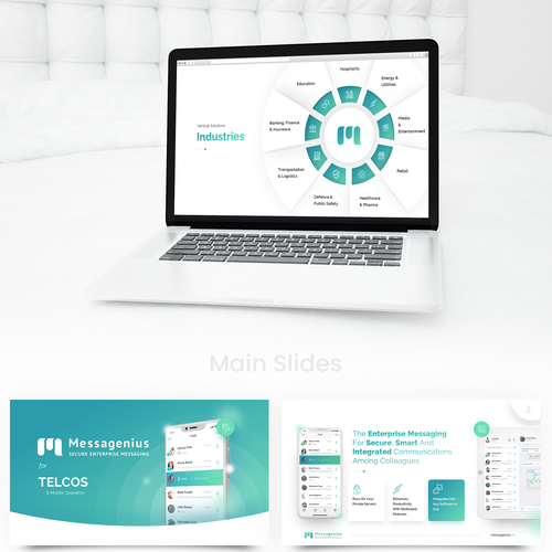 Bank design with the title 'The best presentation template for B2B secure messaging app'