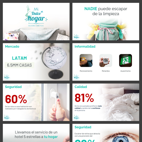 Pitch deck design with the title 'Pitch Deck for a Cleaning Service'