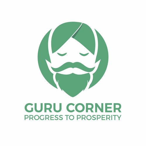 Sensei logo with the title 'face logo of guru with simple flat style'