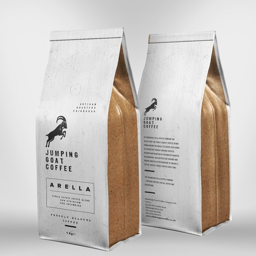 Cleaning packaging with the title 'Jumping Goat Artisan Coffee'