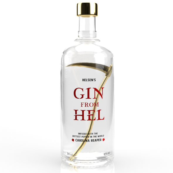 Unique label with the title 'Gin Bottle Design'