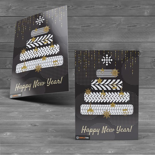 New Year's design with the title 'New Year greeting card for Tyre company'