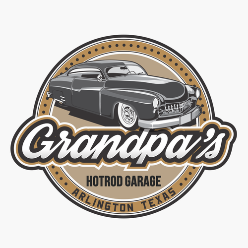 Garage design with the title 'GRANDPA'S HOTROD GARAGE'