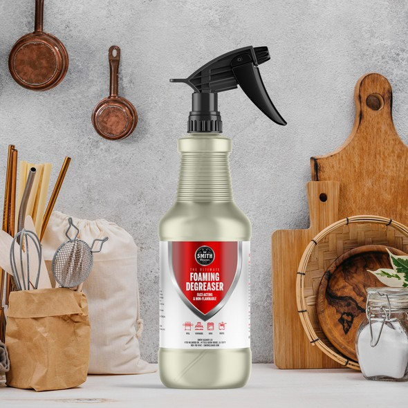 Kitchen design with the title 'Foaming Degreaser label for a spray bottle'