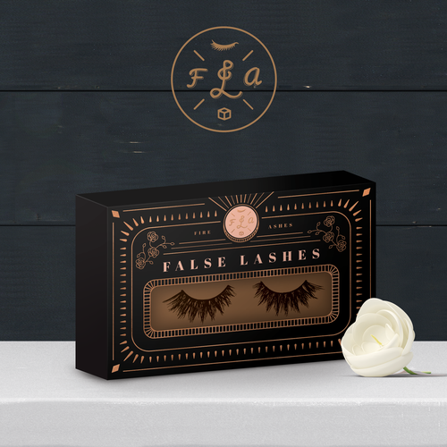 Pink and black design with the title 'Box Design for False Lashes'