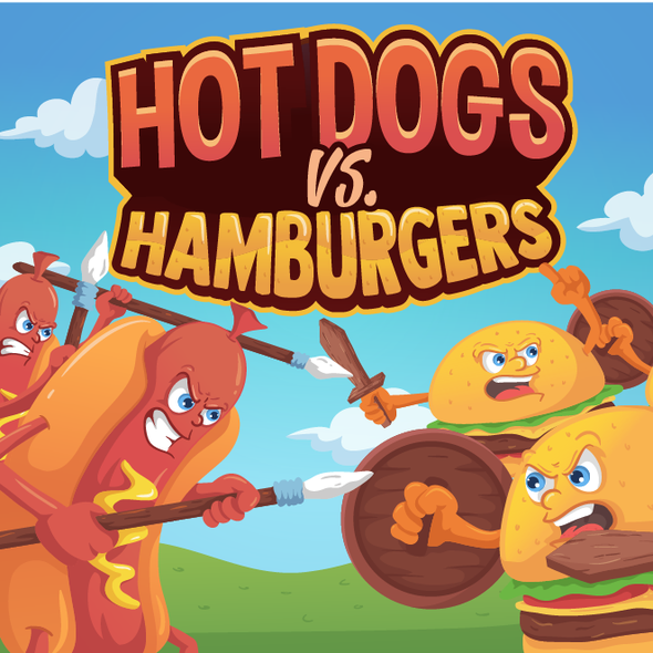 Board game artwork with the title 'Hot Dogs vs Hamburgers'