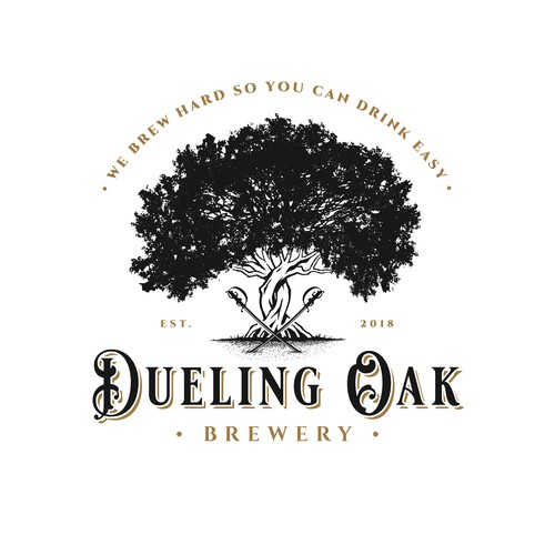 Barbarian logo with the title 'Dueling Oak Brewery'