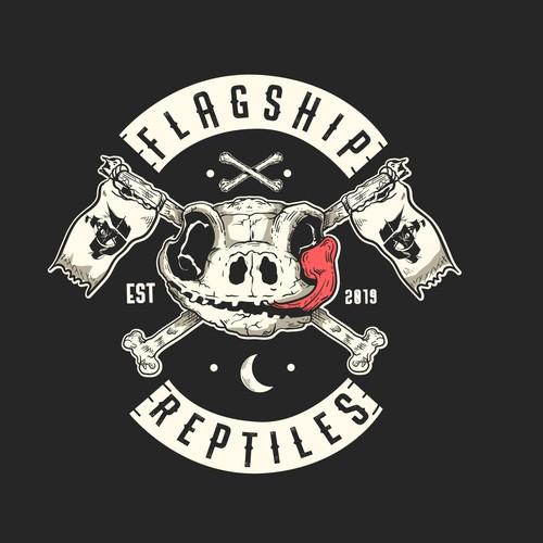 Harley Davidson design with the title 'Badass Reptiles Shop Logo'