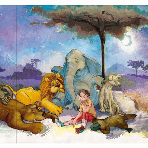 Book illustration artwork with the title 'friends in need'